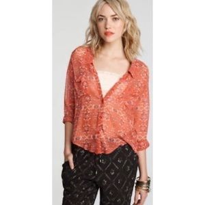 FREE PEOPLE Boho 'Easy Rider' Button Tunic Blouse